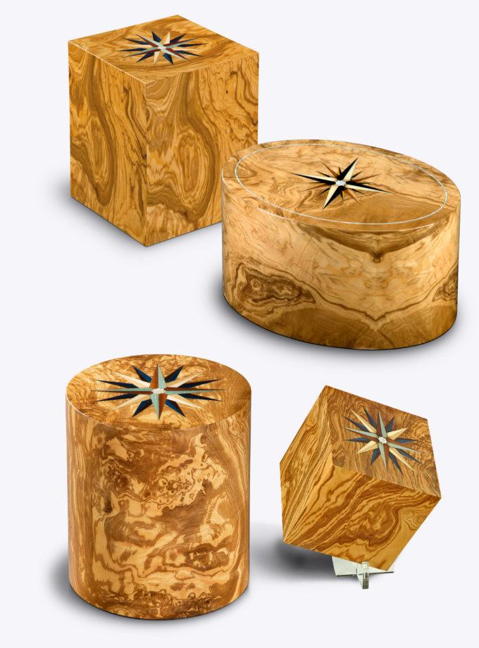 Holzurnen aus Olivenwurzelholz mit einer Windrosenintarsie