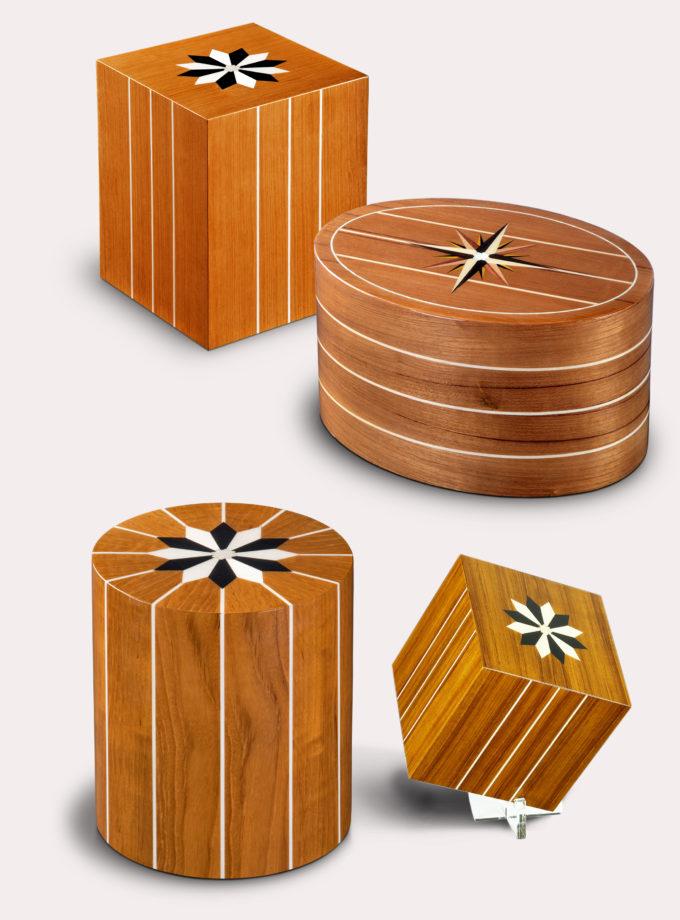 Urne Holz mit Windrosen Intarsien