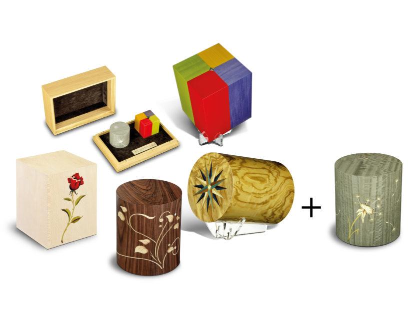 Urnen Angebot Ausstellung Bestatter 4 Urnen und 2er Set Fenice eine Urne geschenkt